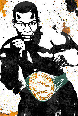 Mike Tyson Boxing Champ Art Wall Indoor Room Outdoor Poster - POSTER 24x36