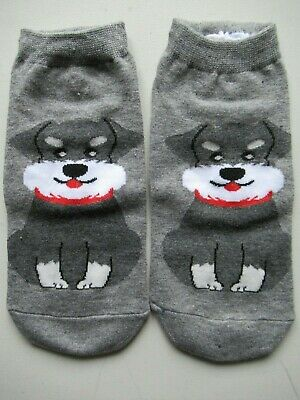 NEW Ladies Girls (1 Pair) Grey Schnauzer Dog Ankle / Trainer Socks FREE P&P