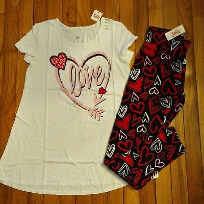 NWT Justice Girls Valentine Love Top/Leggings Size 7 10 12 14 16
