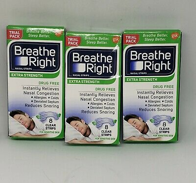 Breathe Right Extra Strength Strips 24 Total Count Clear SEALED Boxes (3)