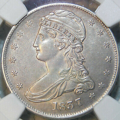 1837 Capped Bust Reeded Edge Half Dollar Silver Certified NGC AU55 Sharp Look