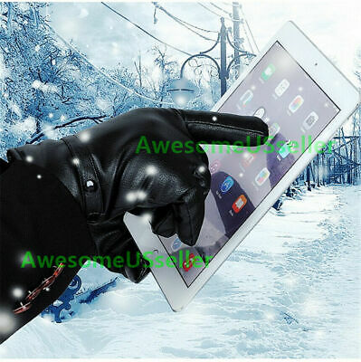 Men Women Winter Gloves Screen Snow Windproof Waterproof Leather Thick E8F3