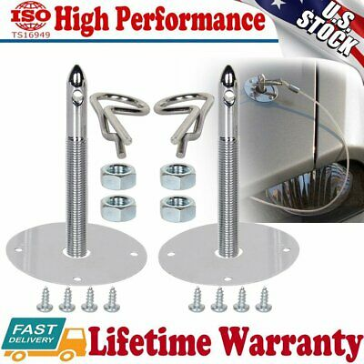 2X Universal 1016 Stainless Steel Chrome Mount Hood Pin Pins Plate Lock Clip Kit