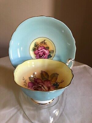 Paragon Cup Saucer Large Rose Double Warrant Robin Egg Blue & Yellow