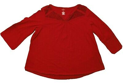 Berry Red Cotton Top w/Lace & Velvet Details at Collar 1X Plus