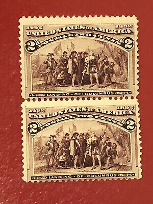 US SCOTT Cat # 231 MNH OG PAIR of 2c Columbian Stamps FREE S&H Perf Sep Wrinkle
