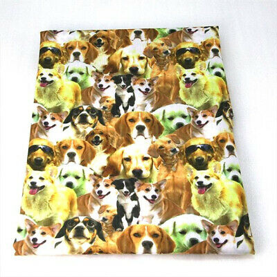 FABRIC ST BERNARD DOG DOGS PUPPY PRINT POLYCOTTON BLEND 50 X 145CM//20 X 58 IN