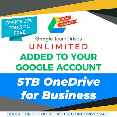Google Drive Unlimited added to your Account + OneDrive 5TB
