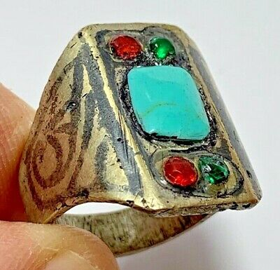 LATE MEDIEVAL RING -BLUE RARE STONE & 4 BRILLIANT SMALL STONES 9.7gr (inner 20mm