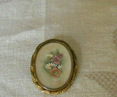 Antique french  Floral Brooch Pin w/ gilt brass ornate Frame