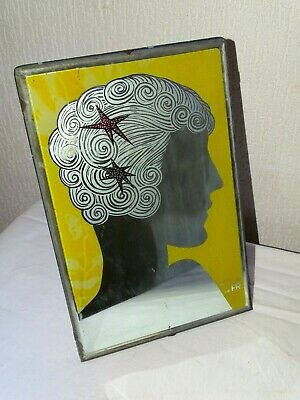 ART DECO superbe miroir ancien coiffeur barbier Old hairdresser barber mirror
