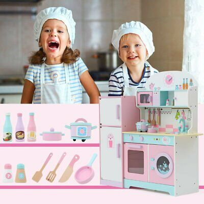 Pink Wooden Pretend Play Toy Kitchen for Children Role Play Accessories Included