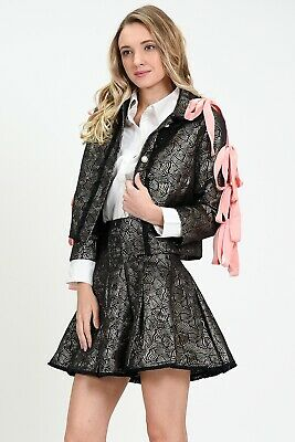 Sister Jane Matching Jacket And Skirt Co-ord Set Jacquard Pearl Buttons Pink S