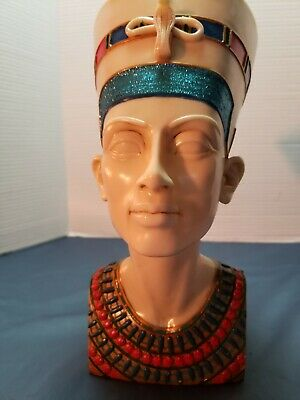 Vintage Queen of Nile Egyptian Queen Nefertiti Statue Head and Bust Resin 13""