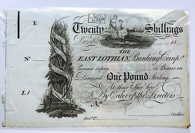 Unsigned 1810-1822 East Lothian Bank 20 shilling Banknote