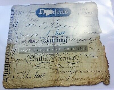 1805 Dumfries Commercial Bank 1 Guinea Banknote
