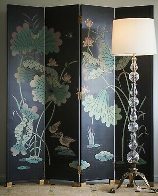 Antique Chinoiserie Lacquer Screen Divider with fine details Chinese Japanese ar