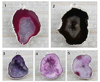 Super Natural Geode Crystal Druzy Quartz Silver Plated Earring Pendant Connector