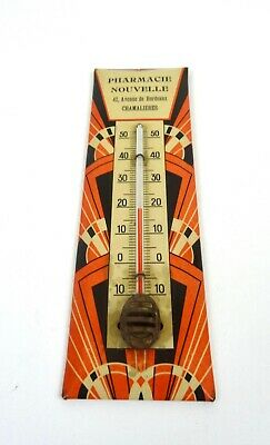 Antique French Avantgarde Cubist Art Deco Wall Thermometer  Working 1925