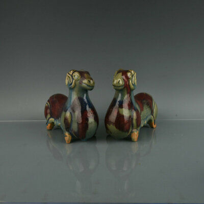 """Chinese Old Fine Antique Porcelain pair jun kiln Hand painting sheep Statue 8.7"""""""