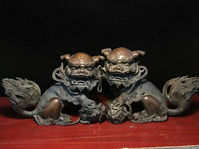 A pair Chinese old bronze Lion beast Foo Dog statue fengshui Decoration