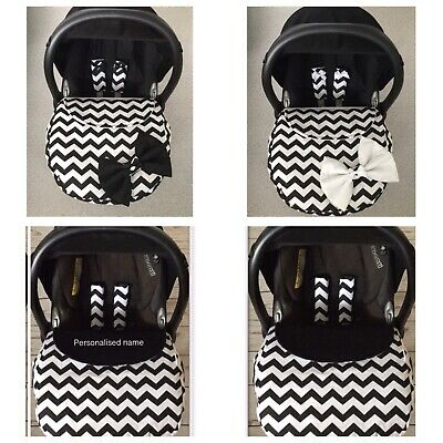 GREY WHITE CHEVRONS CAR SEAT COVER HARNESS COVERS APRON FOOT MUFF PINK BOWS
