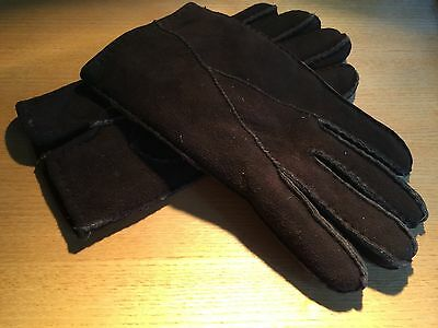 Classic Shearling Sheepskin Ultra Soft - Dark Brown - Adult Lg Gloves