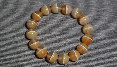 Chinese Natural carved old agate yellow one Line Pharmacist beads lucky Bracele