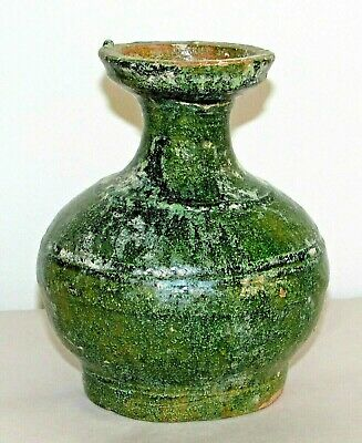 "Chinese Han Tomb Burial Pottery Jar Green Glazeware Hu Pot c.206BC-AD220 / 5.5""h"