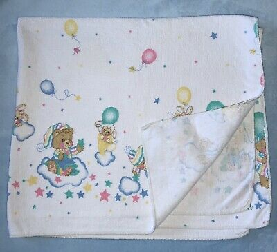 Vtg Reigel Teddy Beddy Bear Flannel Receiving Baby Blanket Balloons Stars