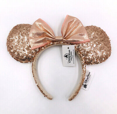Minnie Ears Bow Sequins Champagne Gold Disney Parks Disneyland 2020 Headband