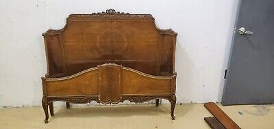 Antique Wood Curved Headboard & Footboard 1920/30s
