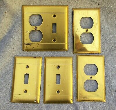 VINTAGE BRASS CSA SWITCHPLATE OUTLET COVERS 2 single toggles 2 outlets 1 combo