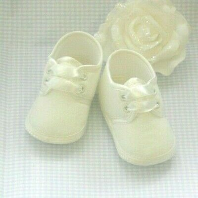 IVORY CHRISTENING SHOES Size 0-3m 3-6m  6-12m BABY GIRLS SATIN BOOTIES FREEPOST!