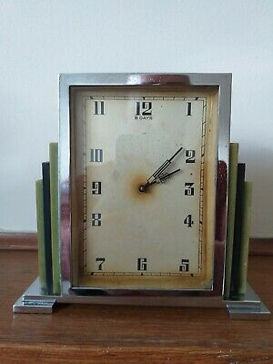 1930s Art deco English Mantel Clock in Chrome and Phonetic  Bakelite Excellent