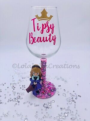 Disney Inspired Wine Glass Aurora Sleeping Beauty Handmade Personalised 20 00 Picclick Uk