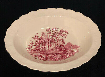 """Taylor Smith Taylor*PINK & RED* CASTLE*9 1/2"""" OVAL BOWL*"""
