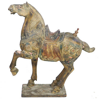 """Large 42"""" Tall Chinese Carved Wood & Plaster Tang Horse, Gilded & Polychrome"""