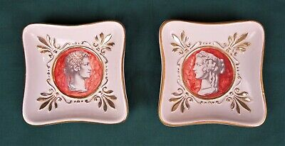 VTG Pair Hollywood Regency Ugo Zaccagnini Dishes Roman Portrait Planter MCM
