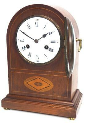 Antique Inlaid Bracket Clock Arched Top 8 Day Gong Striking Mantel Clock C1900