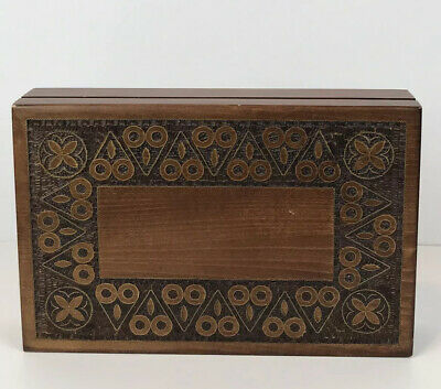 Vtg Hand Carved Wooden Trinket Jewelry Box Made In Poland