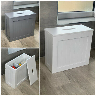 White, Grey Crisp Small Toilet Cleaning Product Storage Tidy Box Unit Bathroom