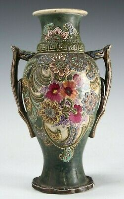 Antique Japanese Moriage Matte Green Pastel Floral Ceramic Vase Urn