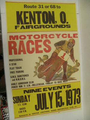 Vintage 1973 Kenton 0. Fairgrounds Motorcycle Races Poster Harley Indian Triumph