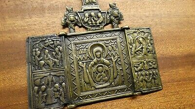 Russian orthodox bronze icon Mother of God Our Lady 18-19th century  PATINA#2