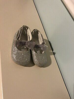 Beautiful Silver Sparkly Tbar Shoes From Monsoon Size 3