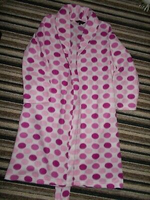 Girls Fleecy Pink Spotted Dressing Gown Age 11/12 Years