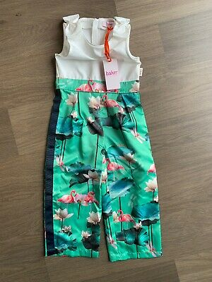 New Ted Baker Girls Flamingo Jumpsuit Playsuit Size 4 Years