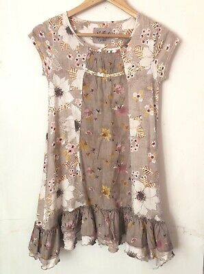 Next Girls Dress Size 11 Years Old Pink Floral Print Ruffle Gold Sequin 146 cm