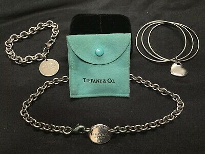 Pre-owned Tiffany & Co. Sterling Silver Jewelry Lot- 3 Piece Matching Set